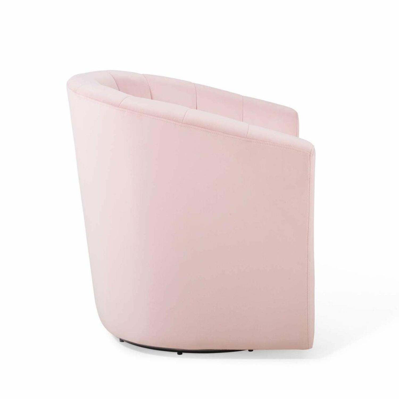 Swivel Armchair In Pink Velvet Finish - image-2