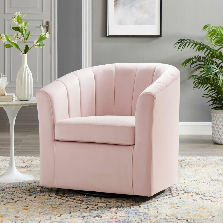 Swivel Armchair In Pink Velvet Finish - image-7