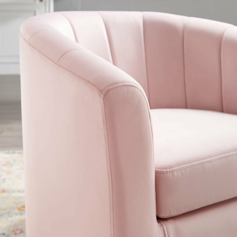 Swivel Armchair In Pink Velvet Finish - image-5