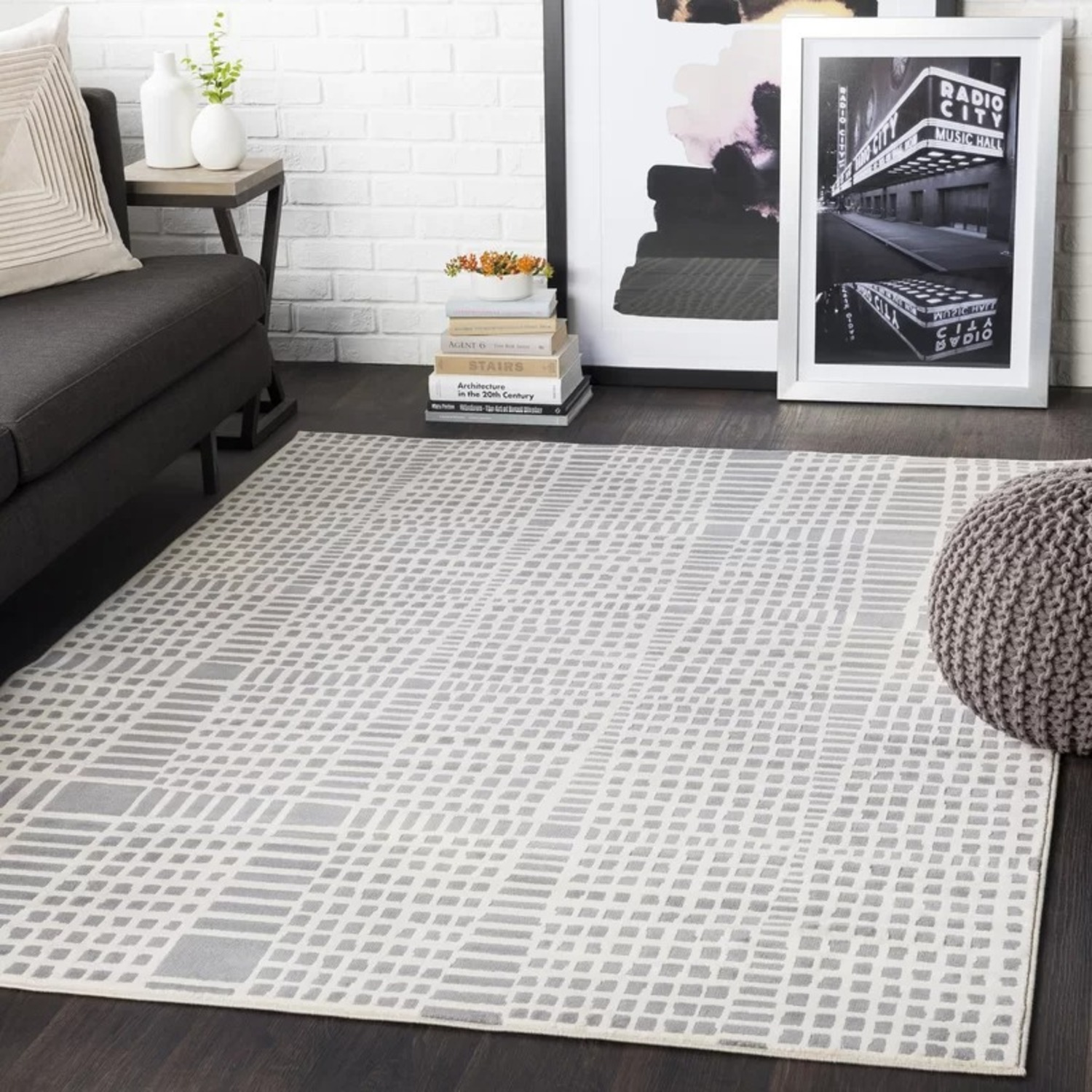 Joss & Main Beige and Grey Abstract Area Rug - image-0