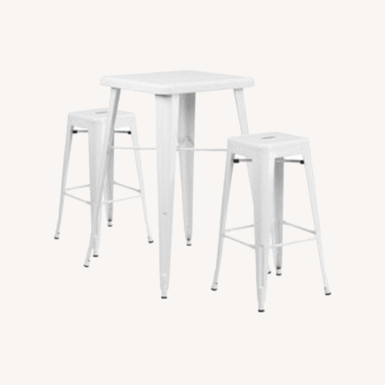 Zipcode Design White Metal 2-Person Dining Set - image-0