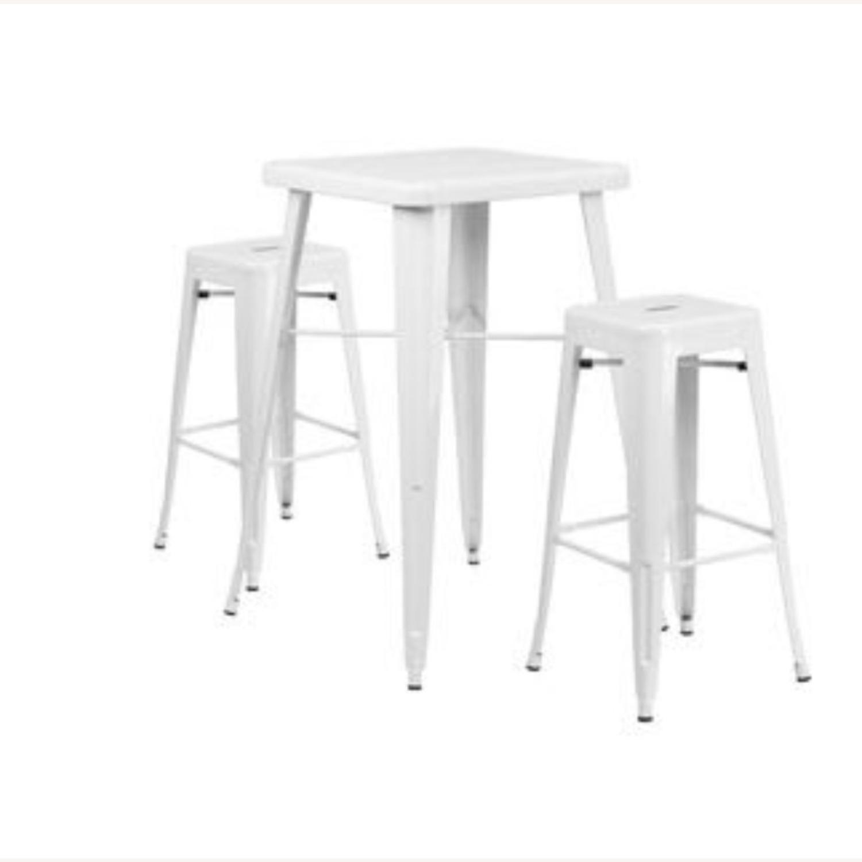 Zipcode Design White Metal 2-Person Dining Set - image-1