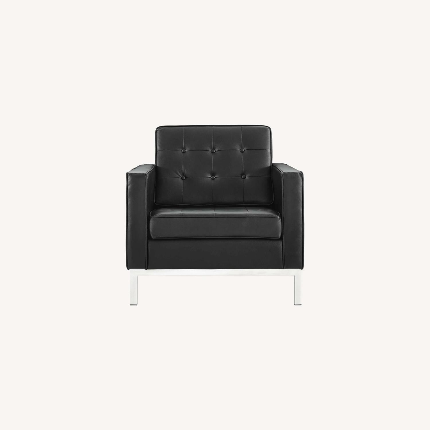 Modern Armchair In Black Leather W/ Tufted Buttons - image-5