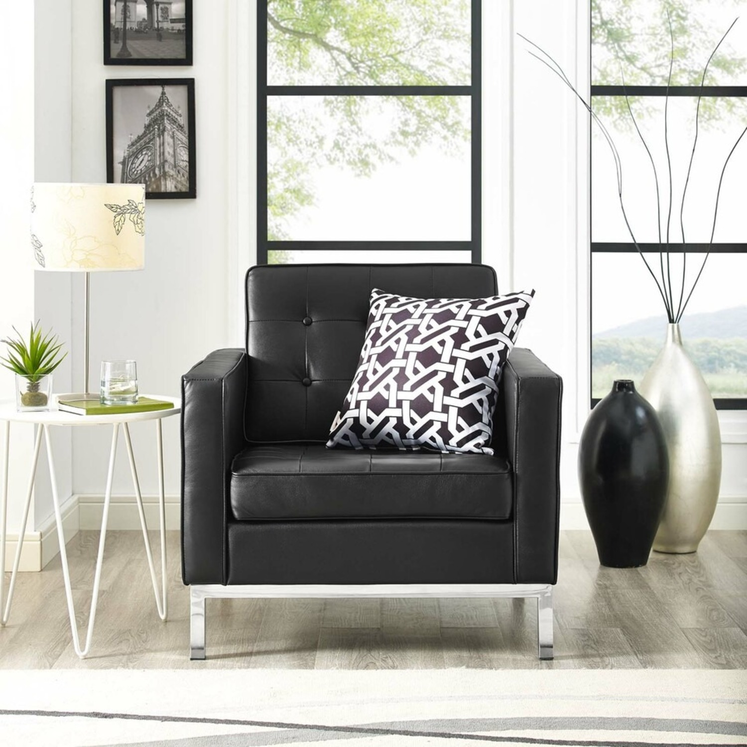 Modern Armchair In Black Leather W/ Tufted Buttons - image-3