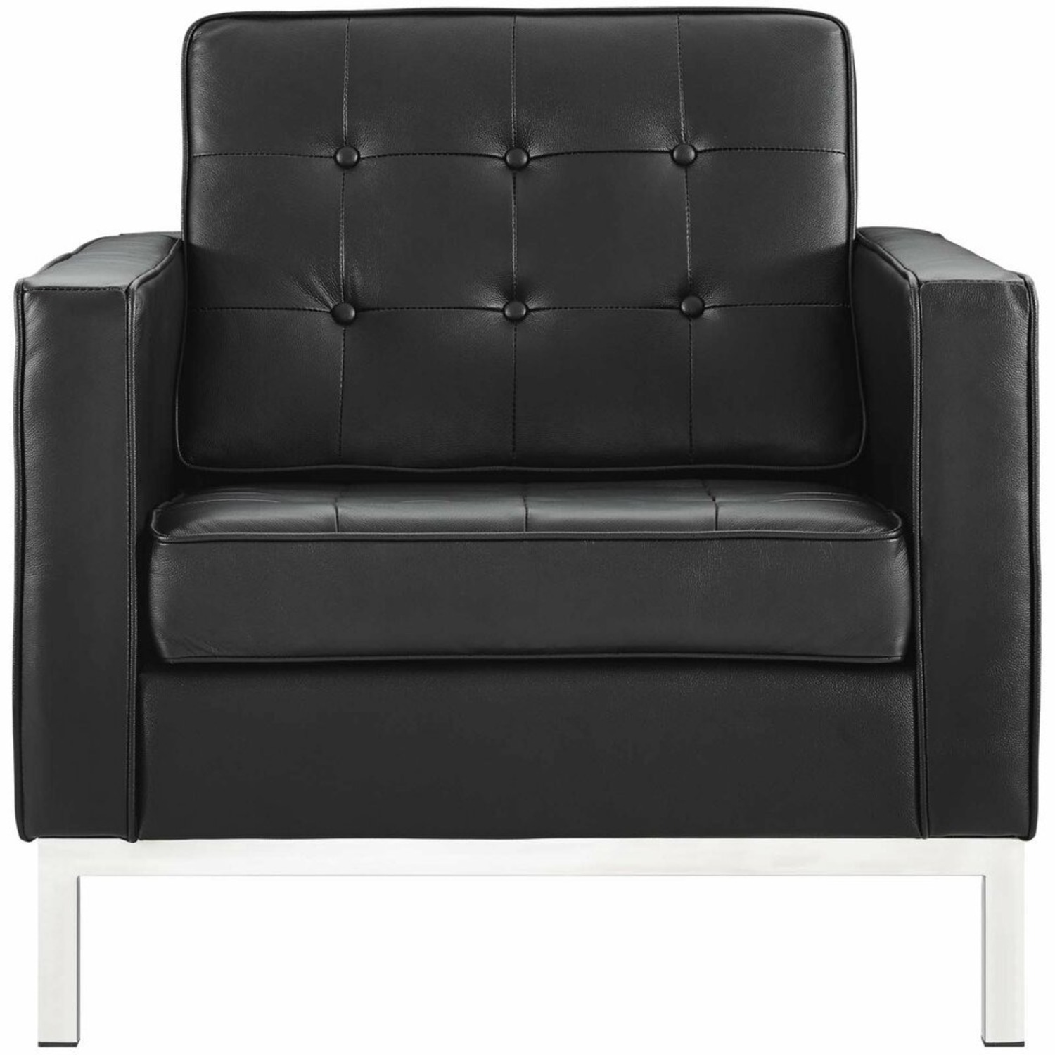 Modern Armchair In Black Leather W/ Tufted Buttons - image-1