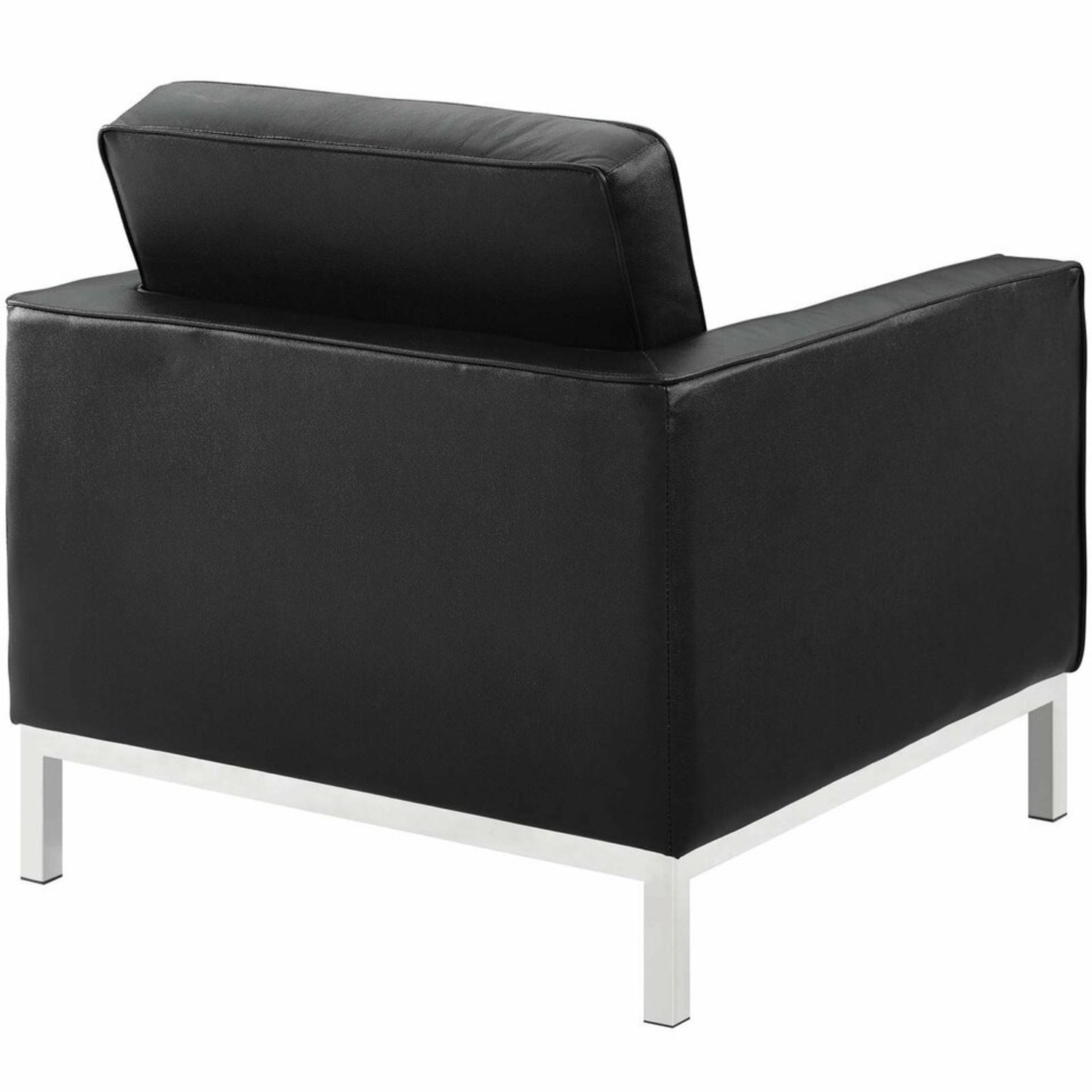 Modern Armchair In Black Leather W/ Tufted Buttons - image-2