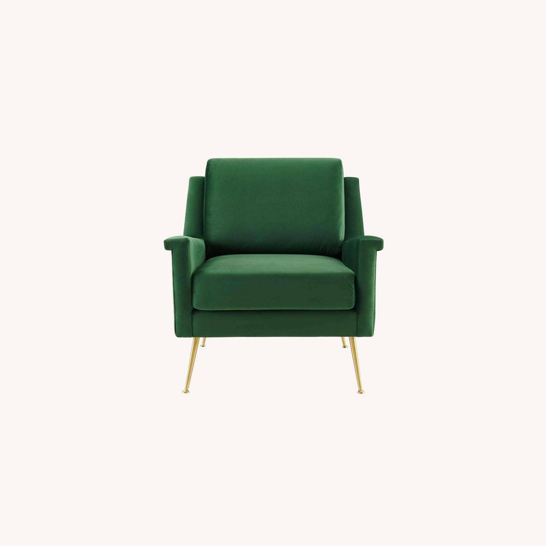 Armchair In Gold Emerald Velvet Upholstery Finish - image-8