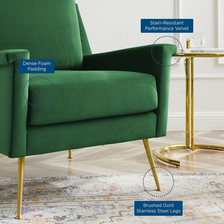 Armchair In Gold Emerald Velvet Upholstery Finish - image-6