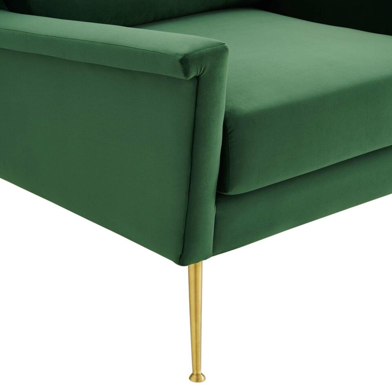 Armchair In Gold Emerald Velvet Upholstery Finish - image-4