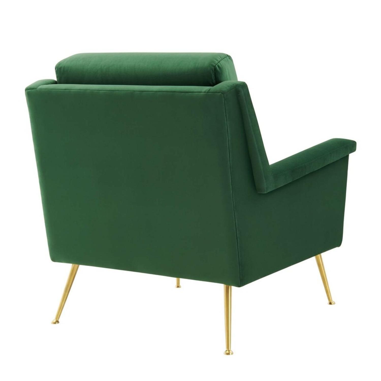 Armchair In Gold Emerald Velvet Upholstery Finish - image-3
