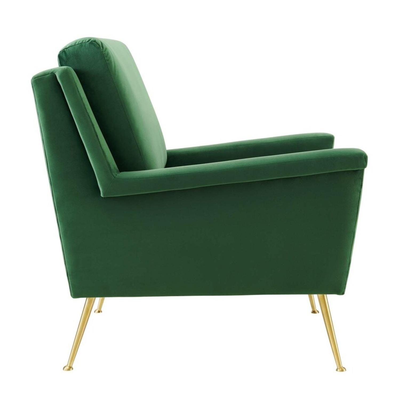 Armchair In Gold Emerald Velvet Upholstery Finish - image-2