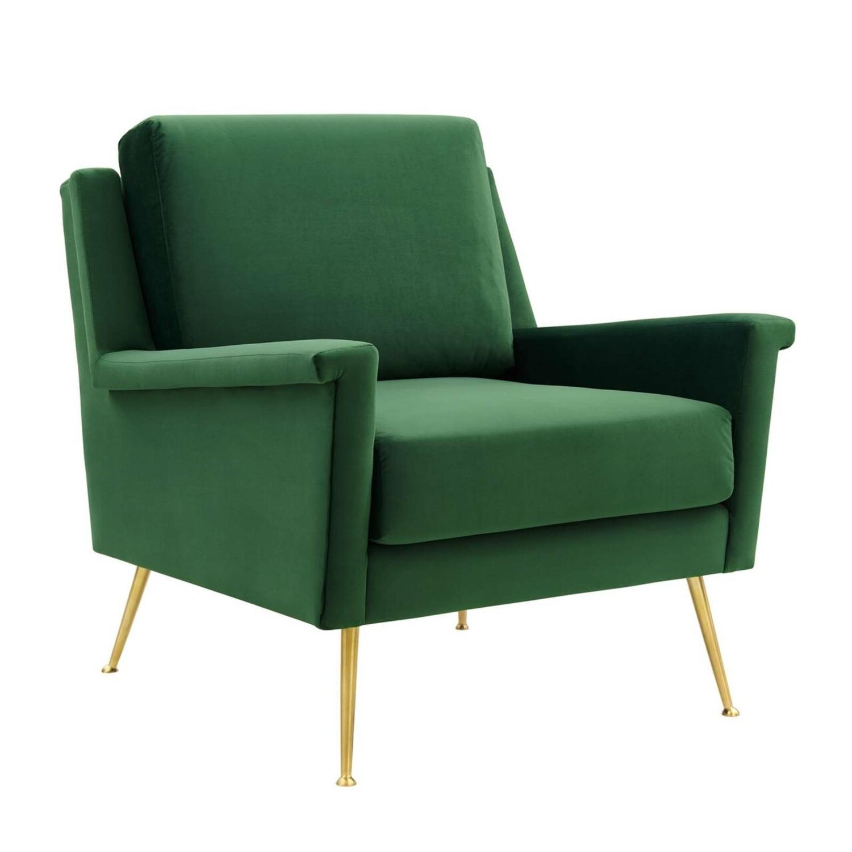 Armchair In Gold Emerald Velvet Upholstery Finish - image-0