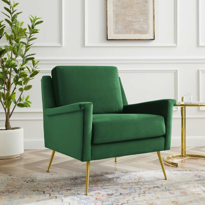 Armchair In Gold Emerald Velvet Upholstery Finish - image-7