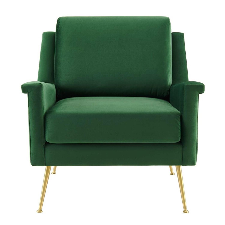 Armchair In Gold Emerald Velvet Upholstery Finish - image-1