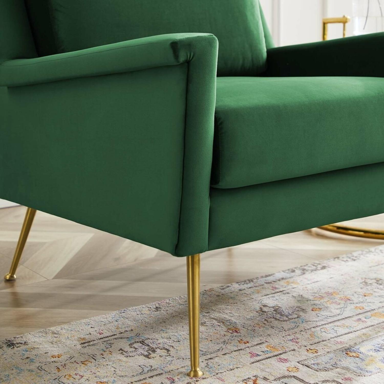 Armchair In Gold Emerald Velvet Upholstery Finish - image-5