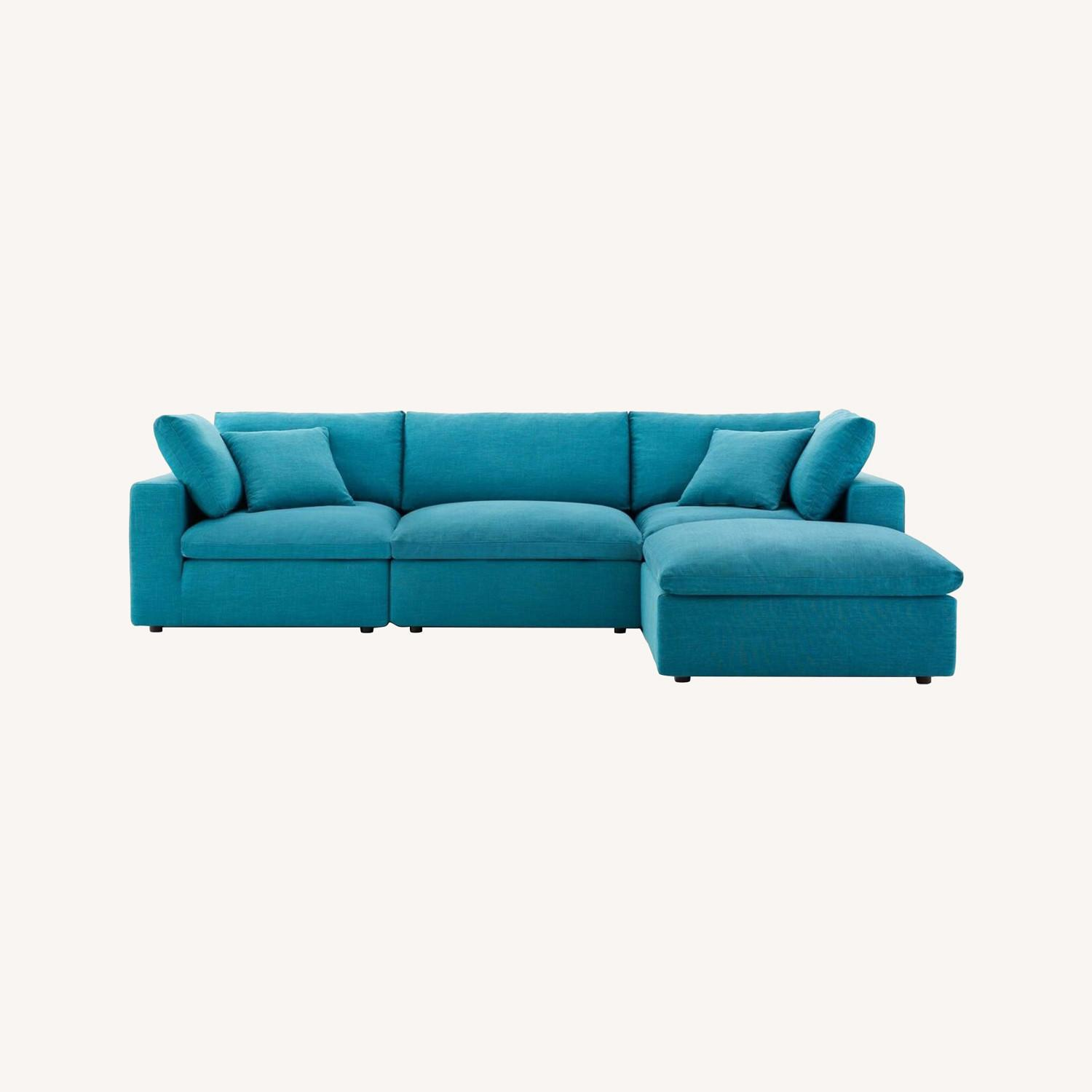 4-Piece Sectional In Teal Polyester & Linen Fabric - image-8
