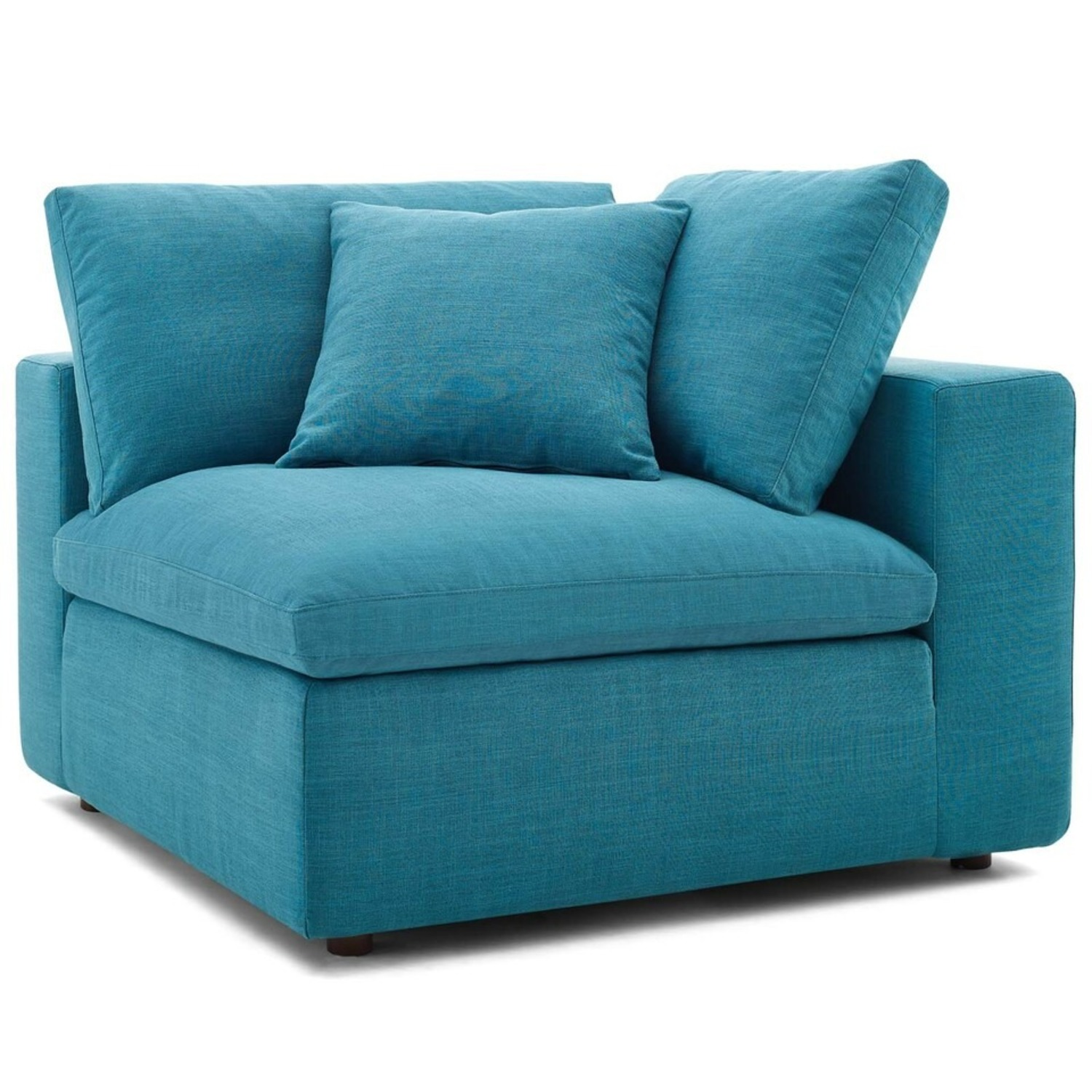4-Piece Sectional In Teal Polyester & Linen Fabric - image-5