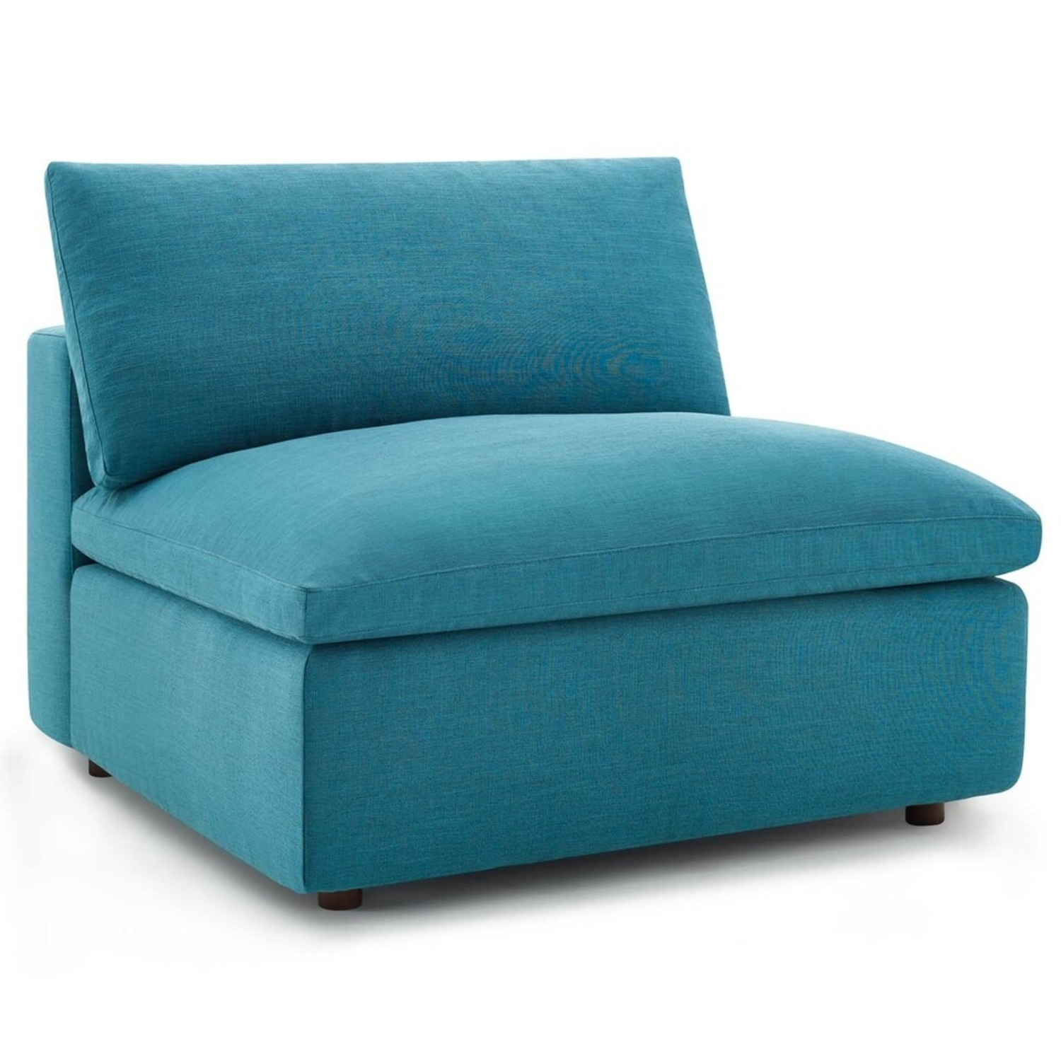 4-Piece Sectional In Teal Polyester & Linen Fabric - image-3