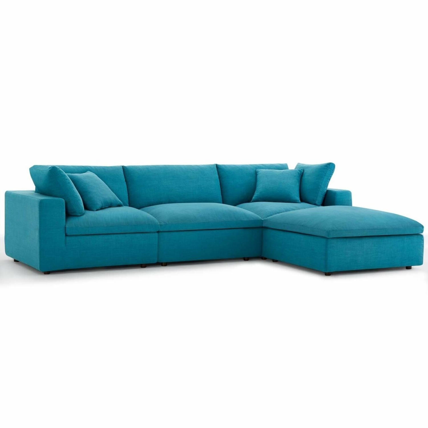 4-Piece Sectional In Teal Polyester & Linen Fabric - image-0