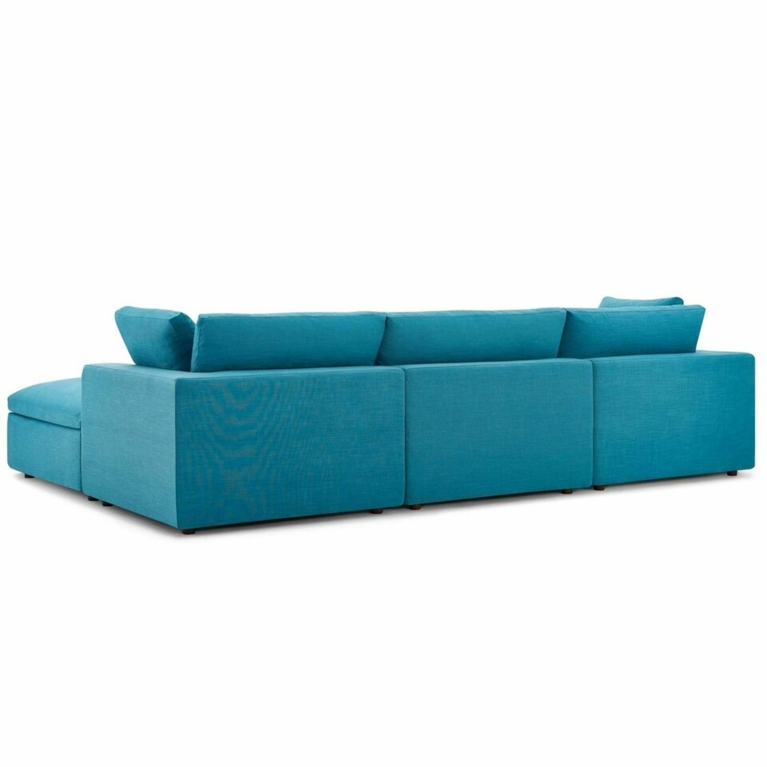 4-Piece Sectional In Teal Polyester & Linen Fabric - image-2