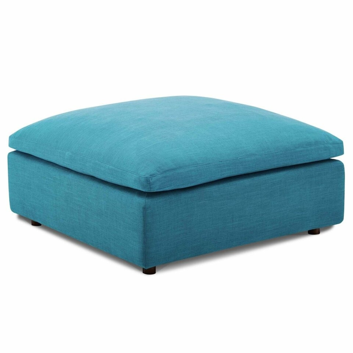 4-Piece Sectional In Teal Polyester & Linen Fabric - image-7