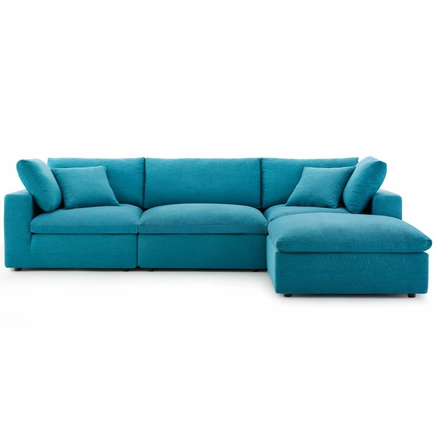 4-Piece Sectional In Teal Polyester & Linen Fabric - image-1