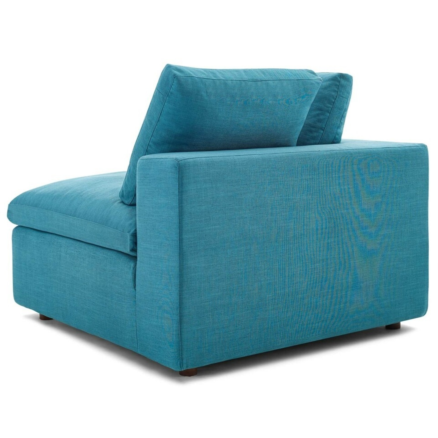 4-Piece Sectional In Teal Polyester & Linen Fabric - image-6