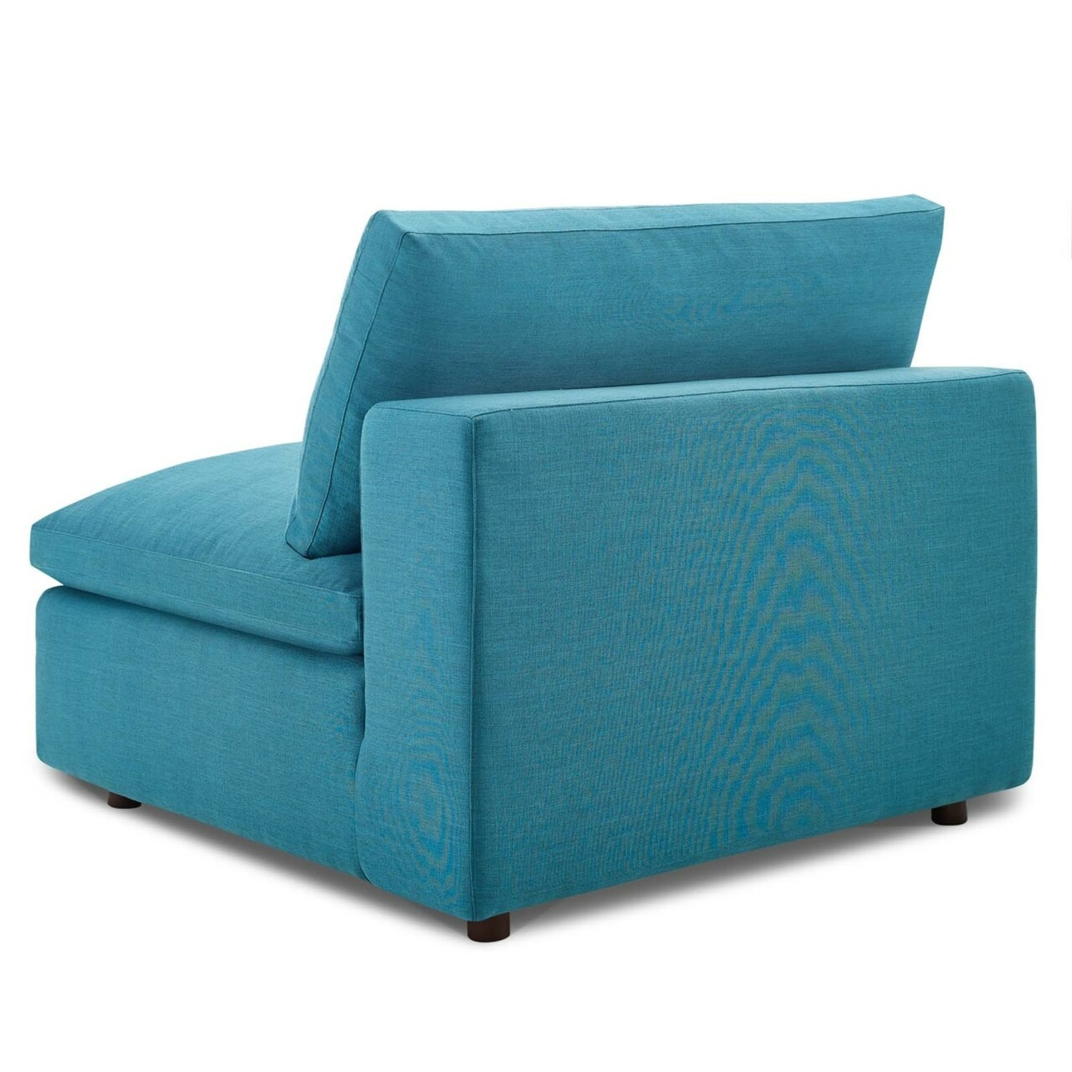 4-Piece Sectional In Teal Polyester & Linen Fabric - image-4