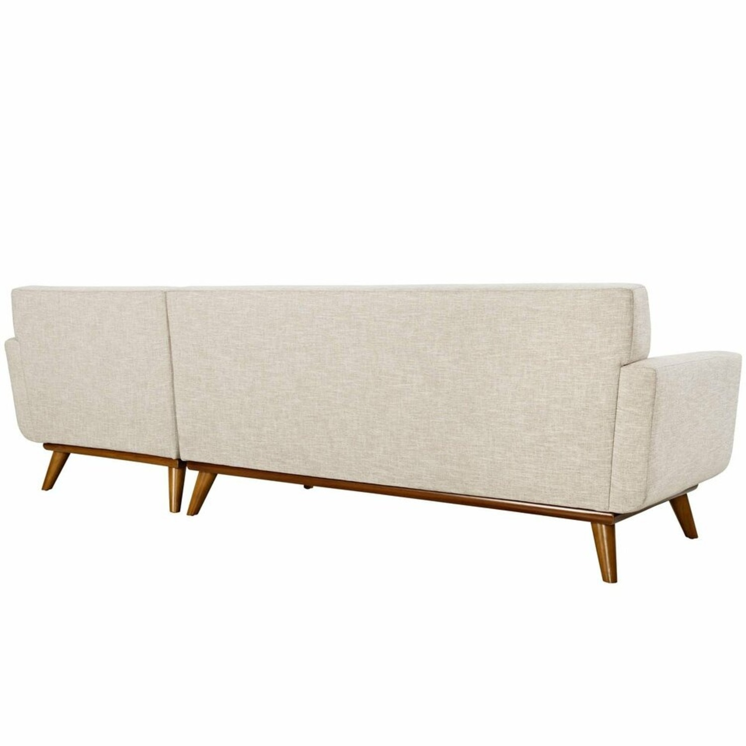 Right-Facing Sectional In Beige Upholstered Fabric - image-2