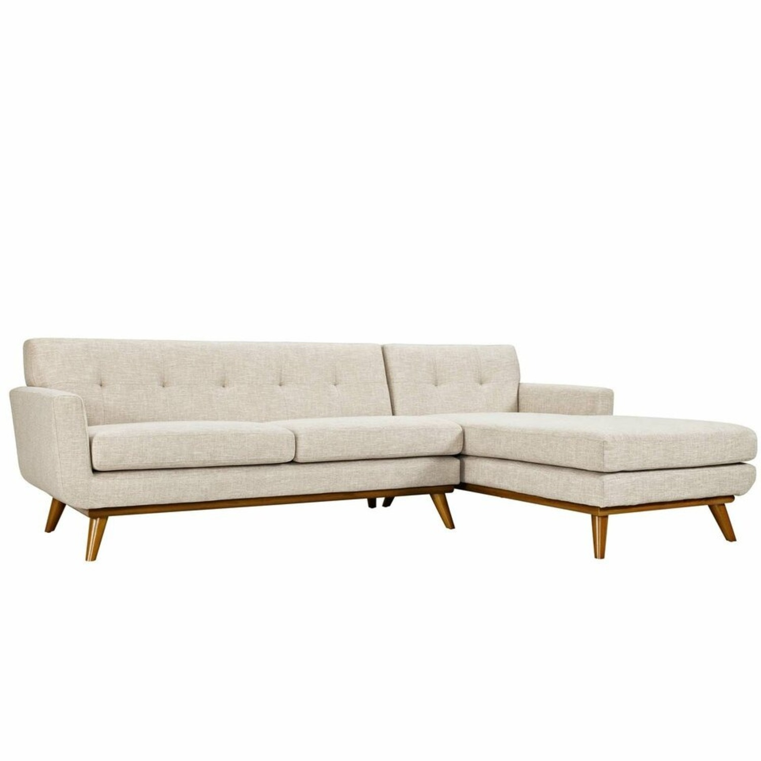 Right-Facing Sectional In Beige Upholstered Fabric - image-0