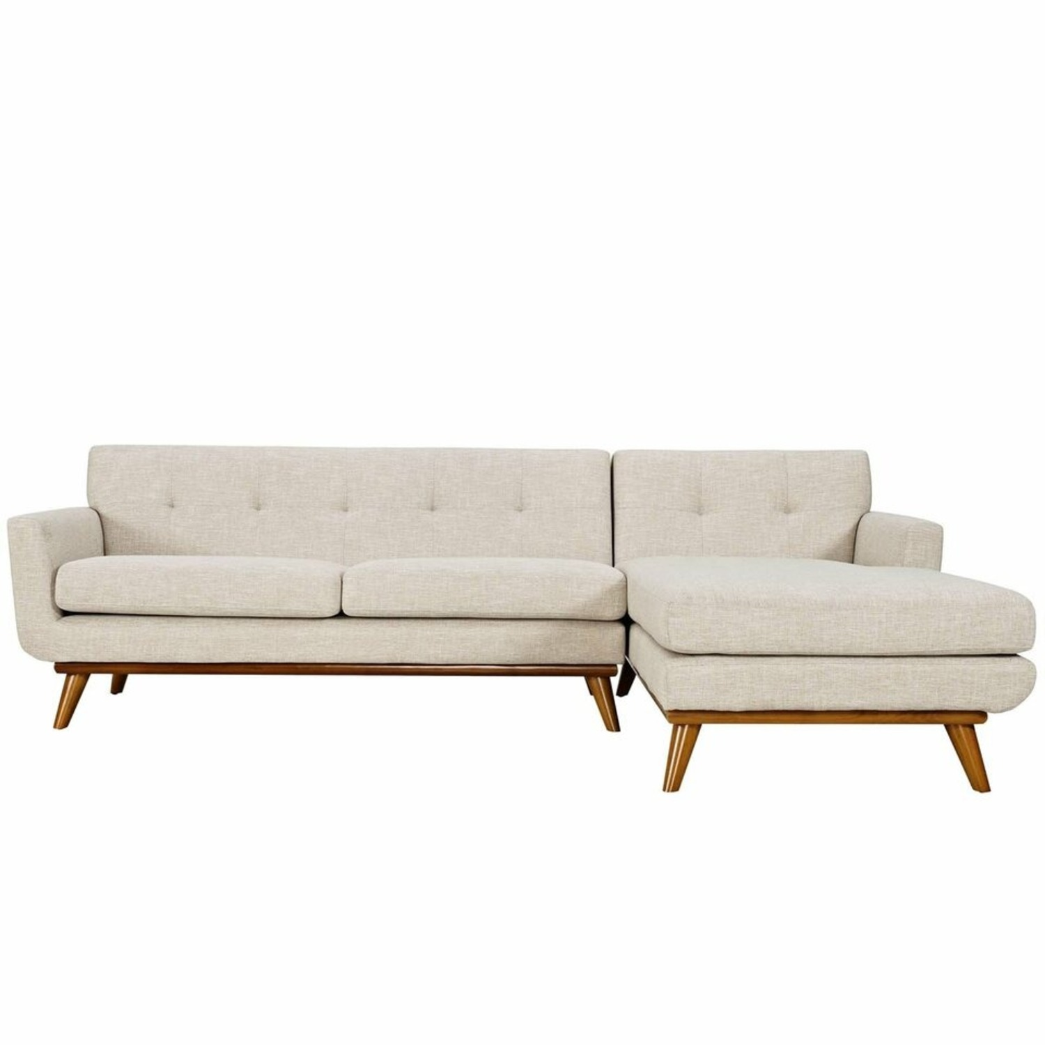 Right-Facing Sectional In Beige Upholstered Fabric - image-1