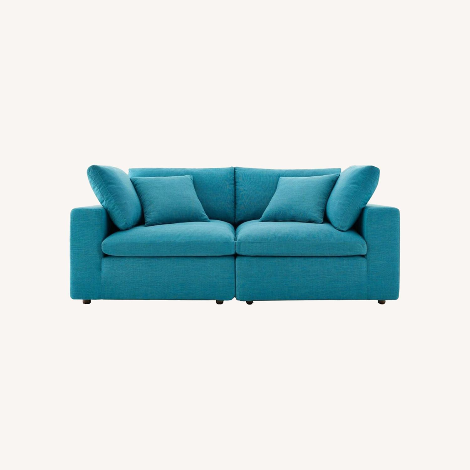 2-Piece Sectional Sofa In Teal Linen Fabric - image-6