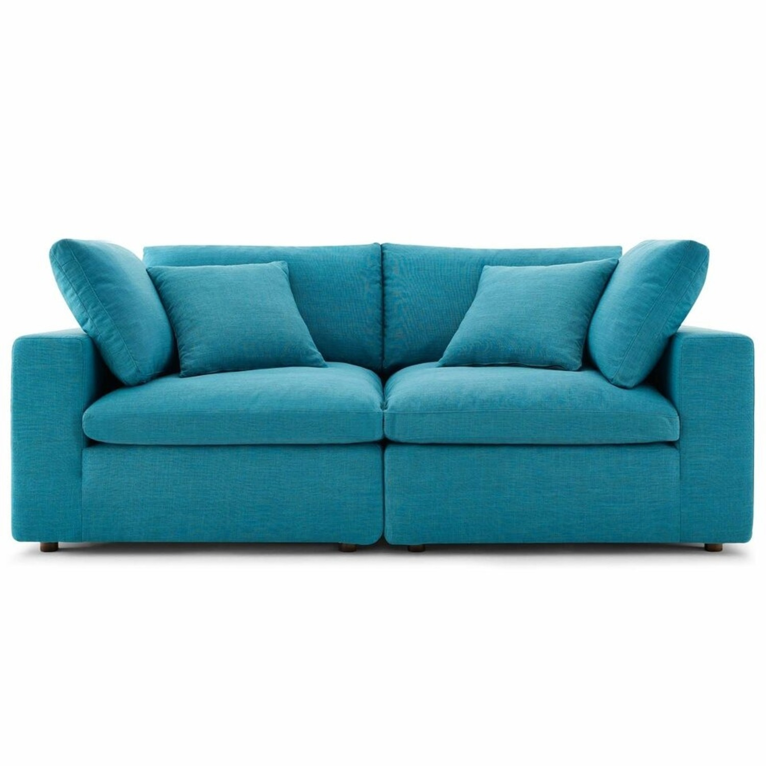 2-Piece Sectional Sofa In Teal Linen Fabric - image-1