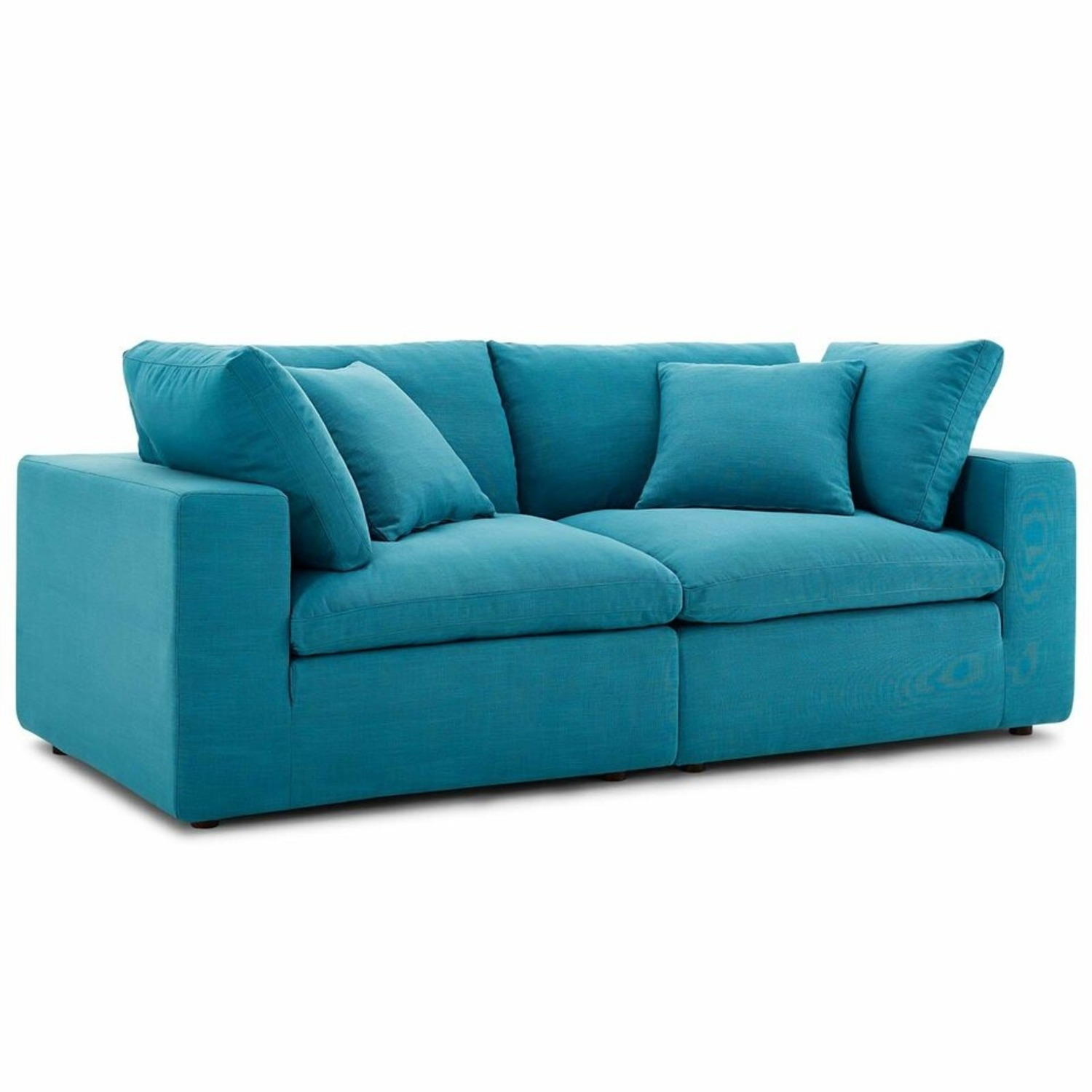 2-Piece Sectional Sofa In Teal Linen Fabric - image-0