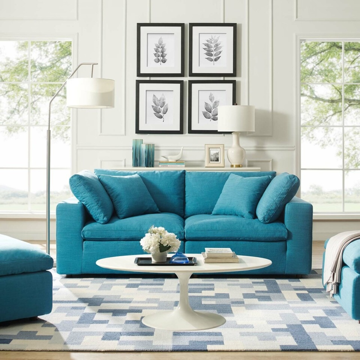 2-Piece Sectional Sofa In Teal Linen Fabric - image-5