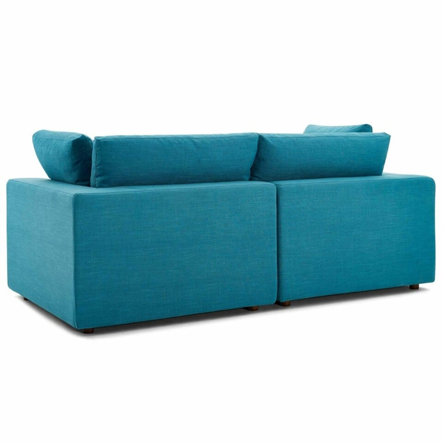 2-Piece Sectional Sofa In Teal Linen Fabric - image-2