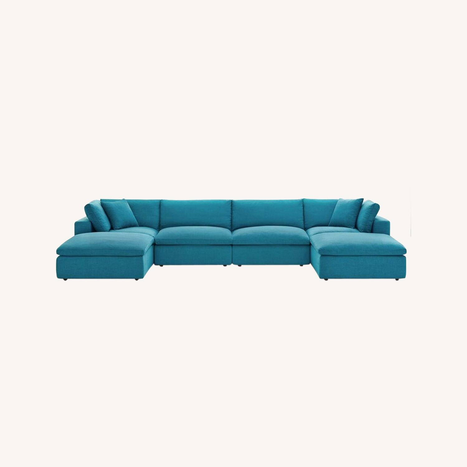6-Piece Sectional Sofa In Teal Linen Fabric - image-8