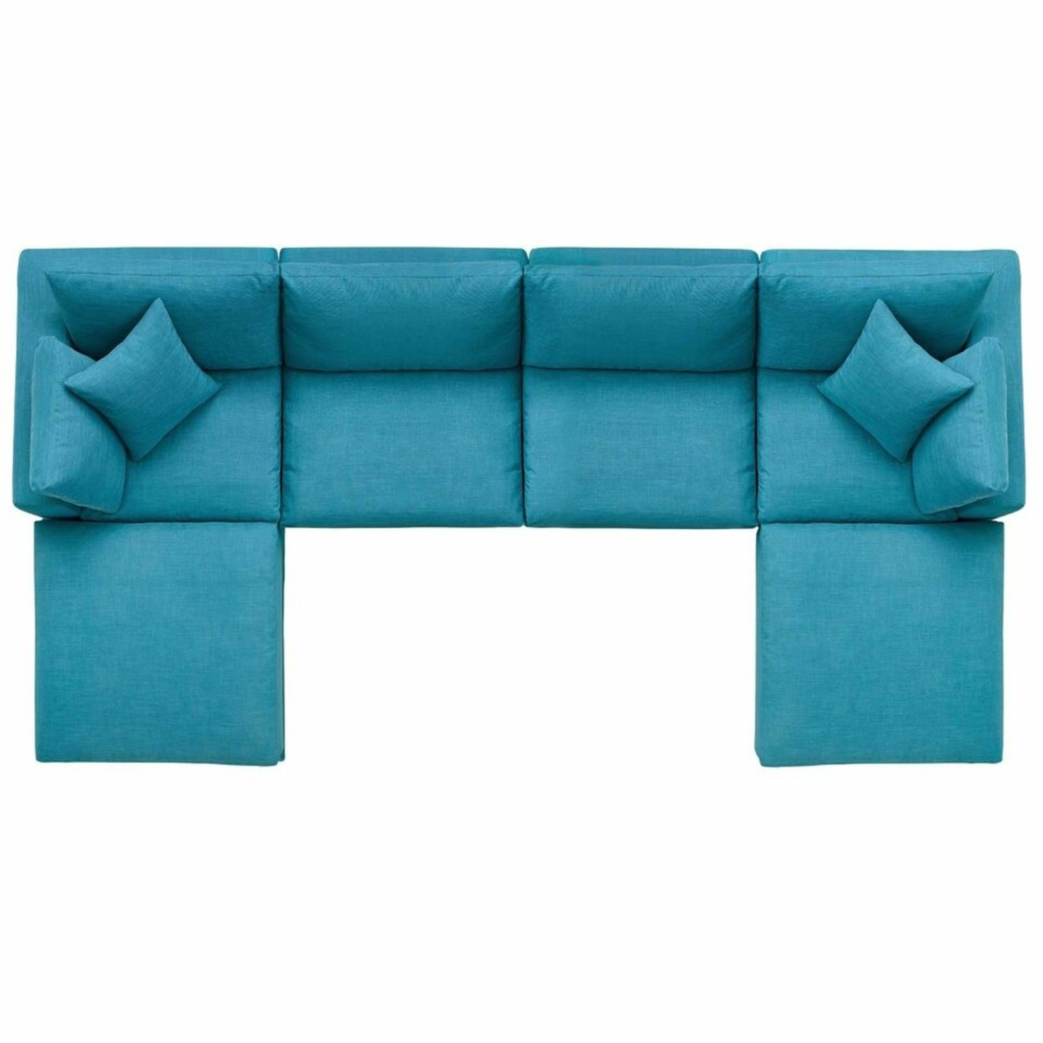 6-Piece Sectional Sofa In Teal Linen Fabric - image-1
