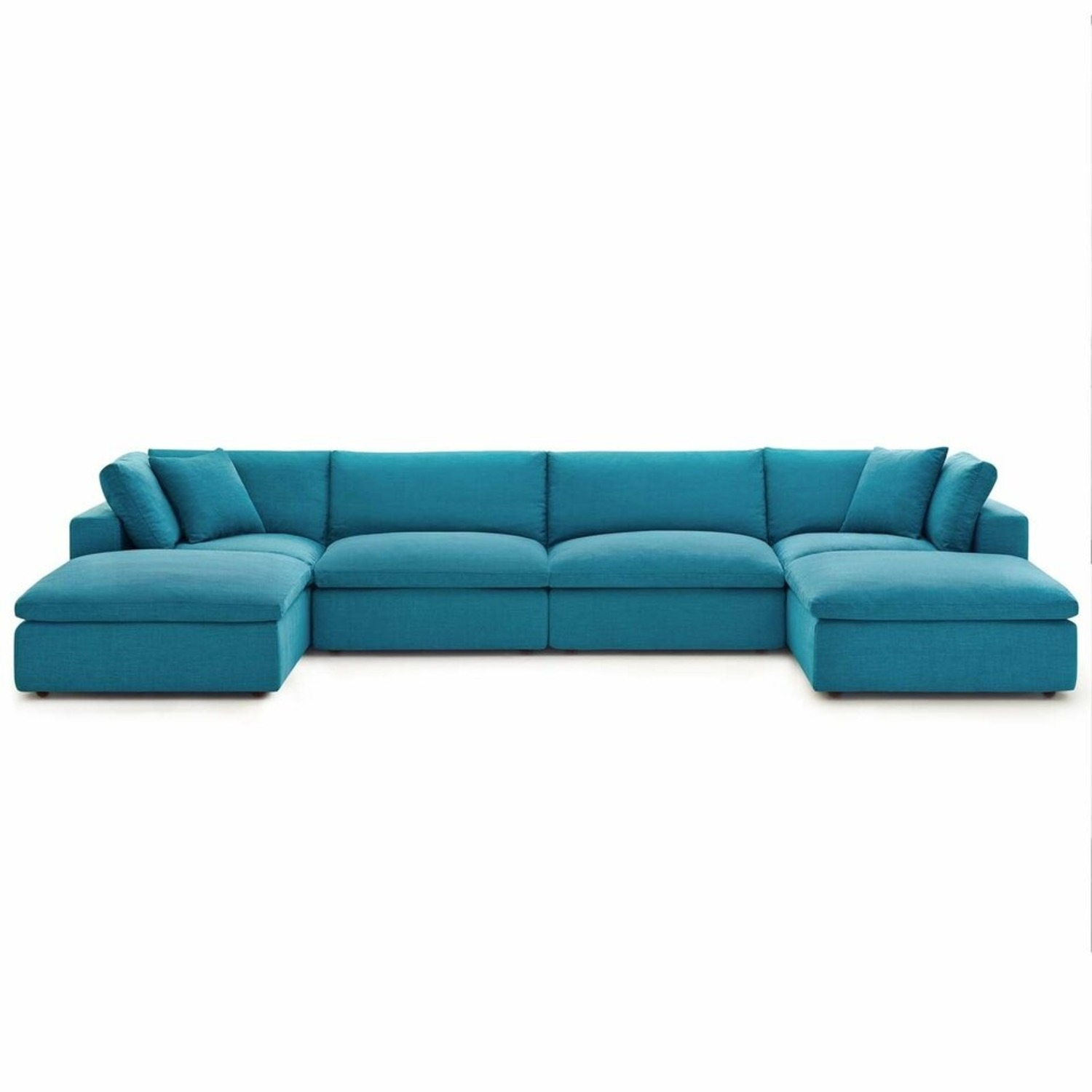 6-Piece Sectional Sofa In Teal Linen Fabric - image-0