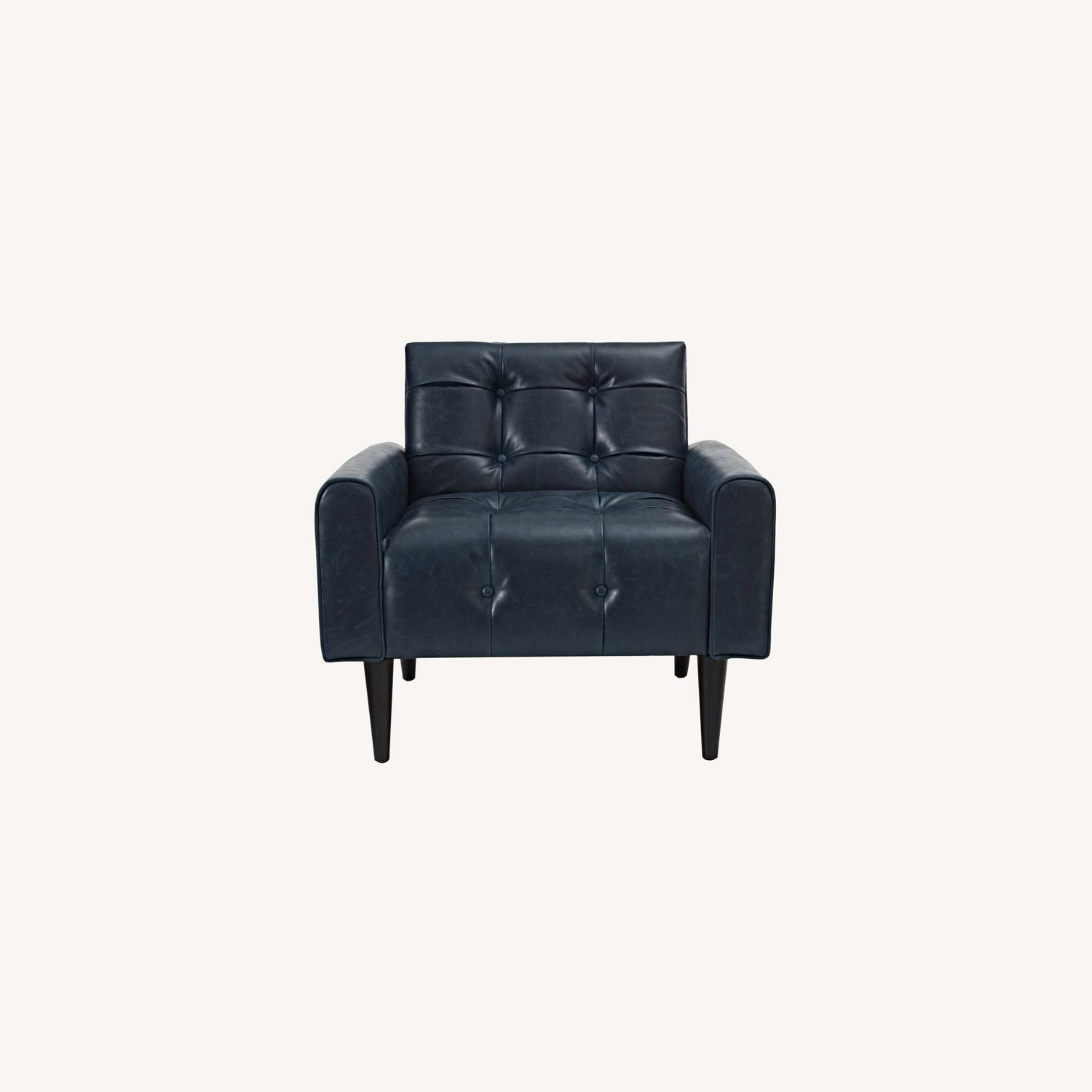 Accent Chair In Blue Vinyl Vegan Leather Finish - image-6