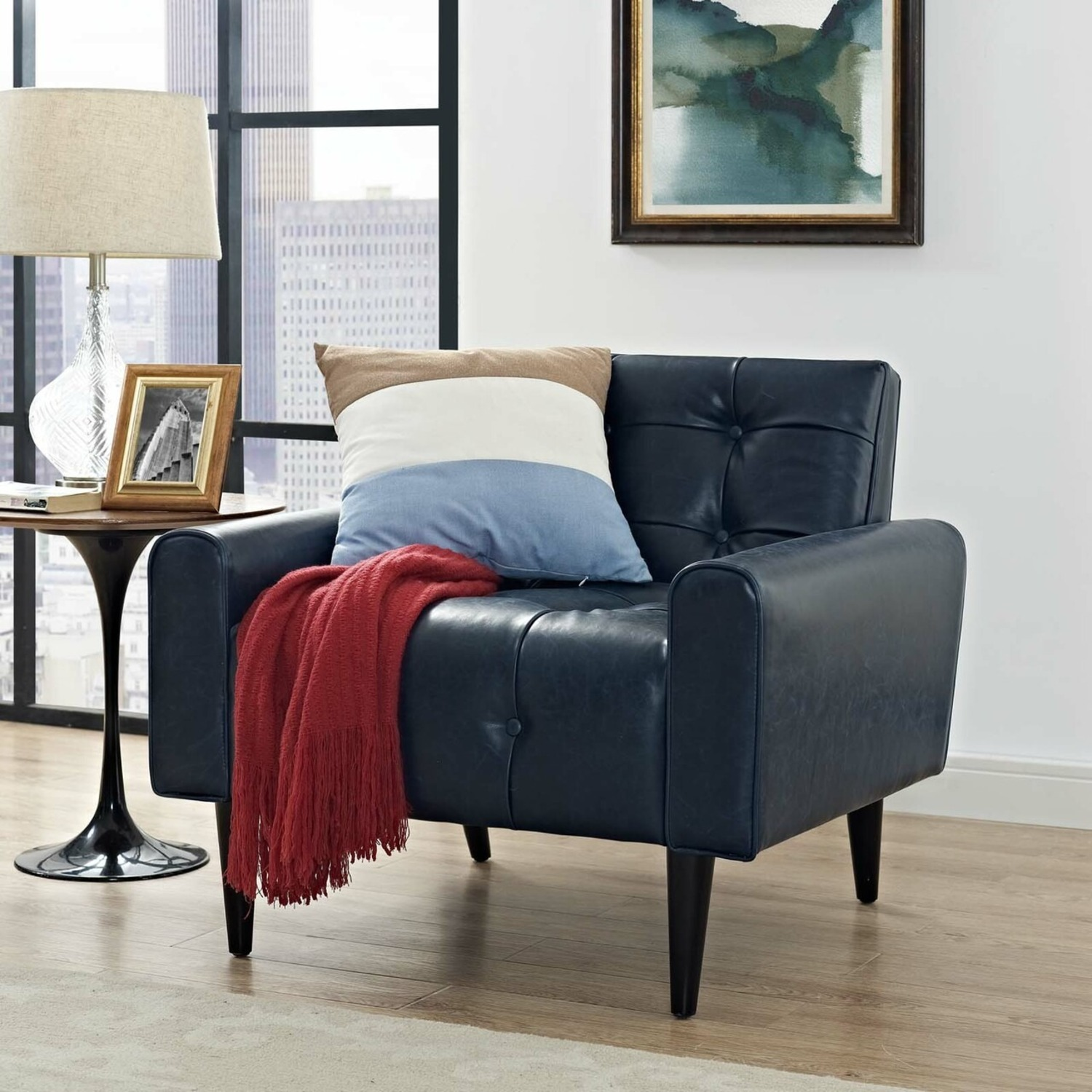 Accent Chair In Blue Vinyl Vegan Leather Finish - image-4
