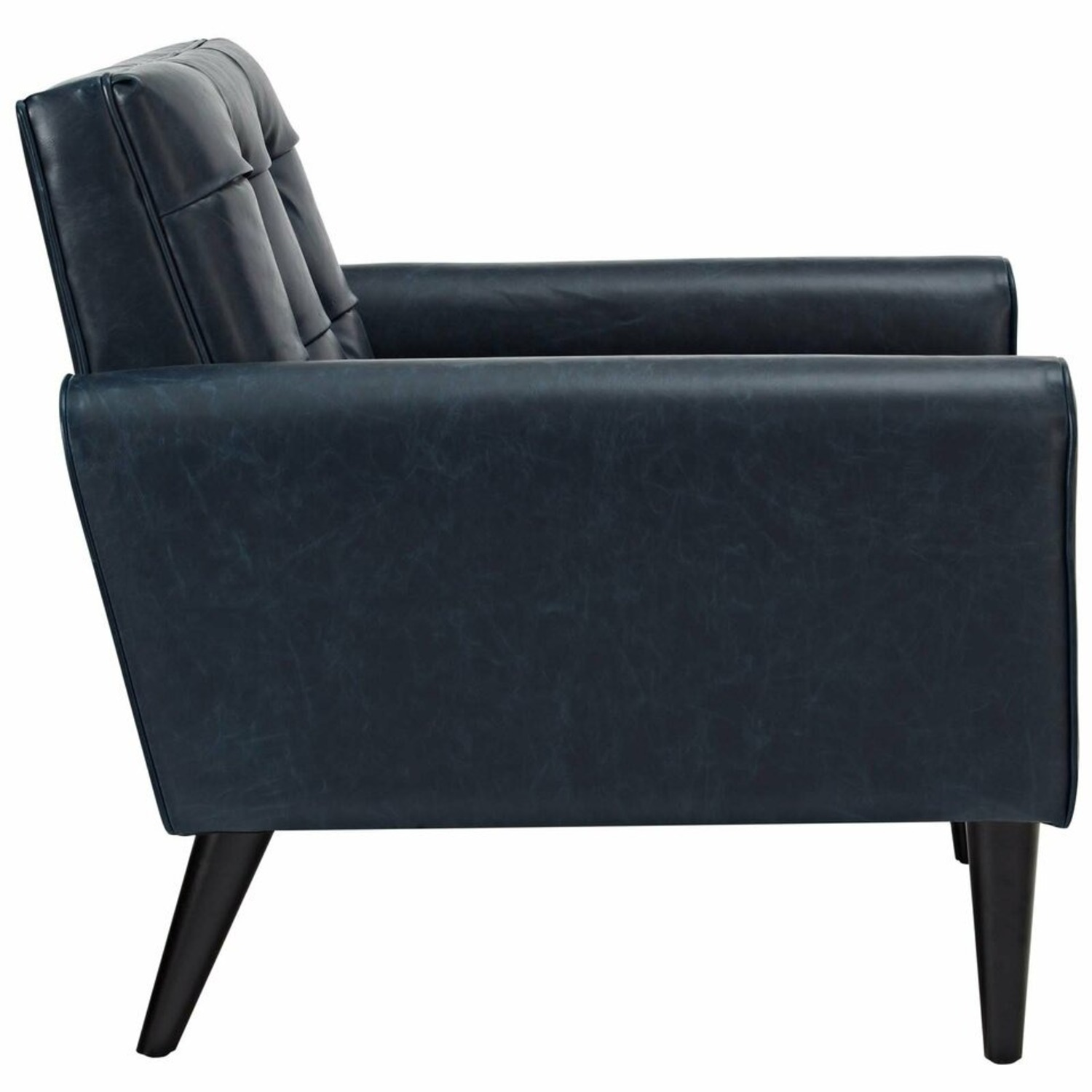 Accent Chair In Blue Vinyl Vegan Leather Finish - image-2