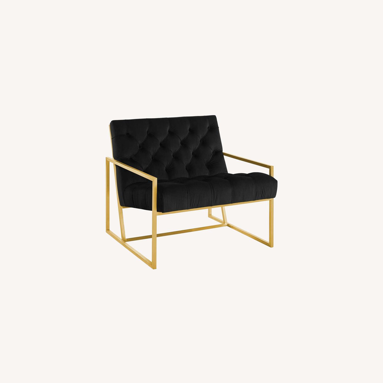 Accent Chair In Black Velvet & Gold Steel Finish - image-5