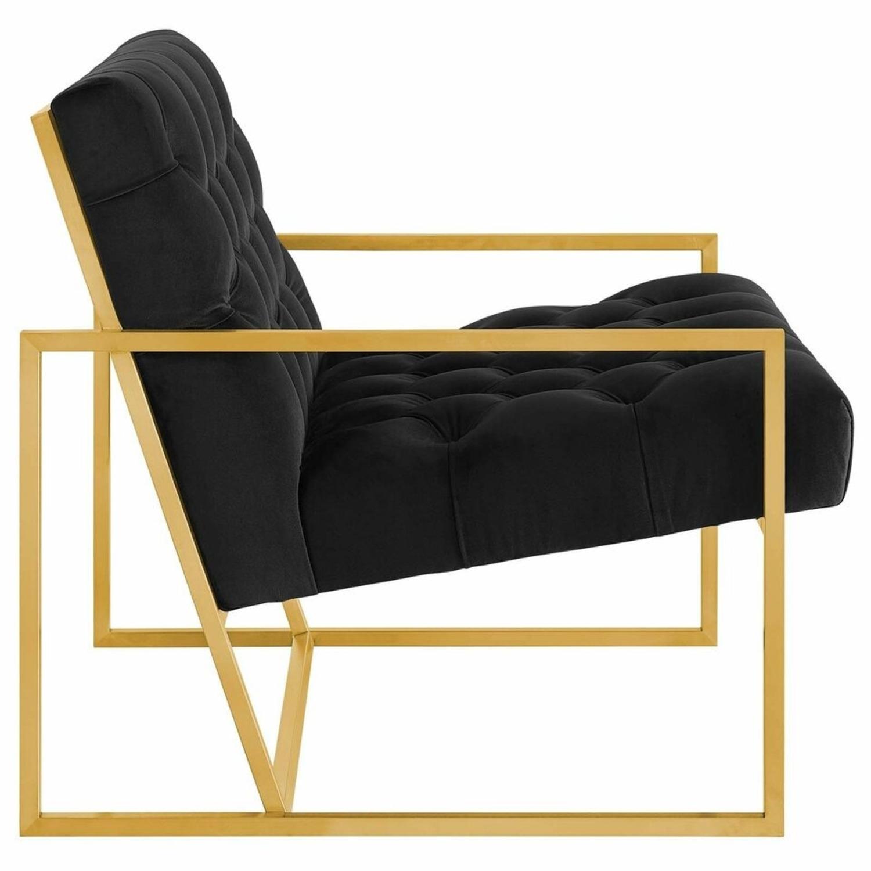 Accent Chair In Black Velvet & Gold Steel Finish - image-1