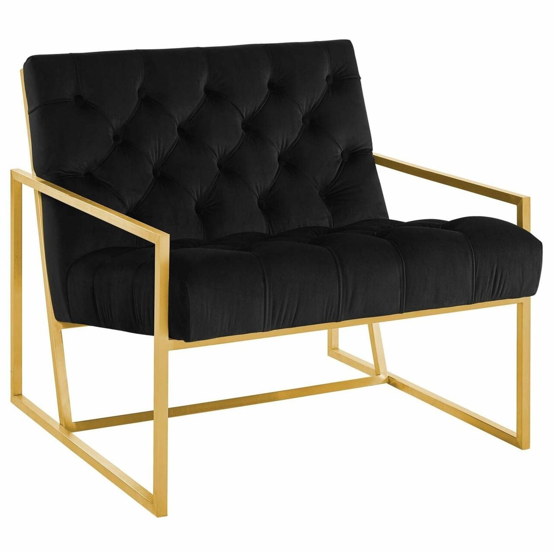 Accent Chair In Black Velvet & Gold Steel Finish - image-0