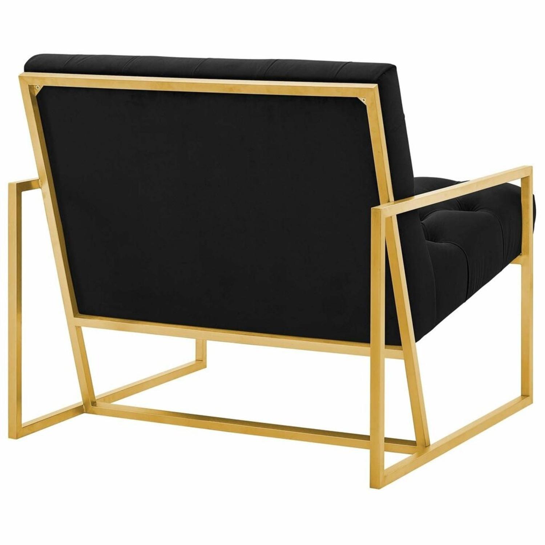 Accent Chair In Black Velvet & Gold Steel Finish - image-2