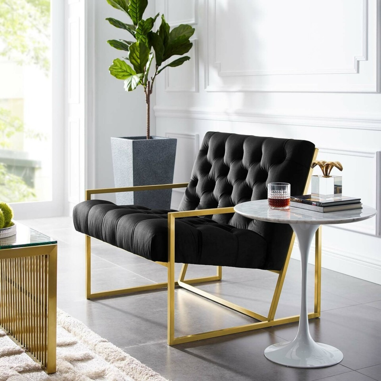 Accent Chair In Black Velvet & Gold Steel Finish - image-4