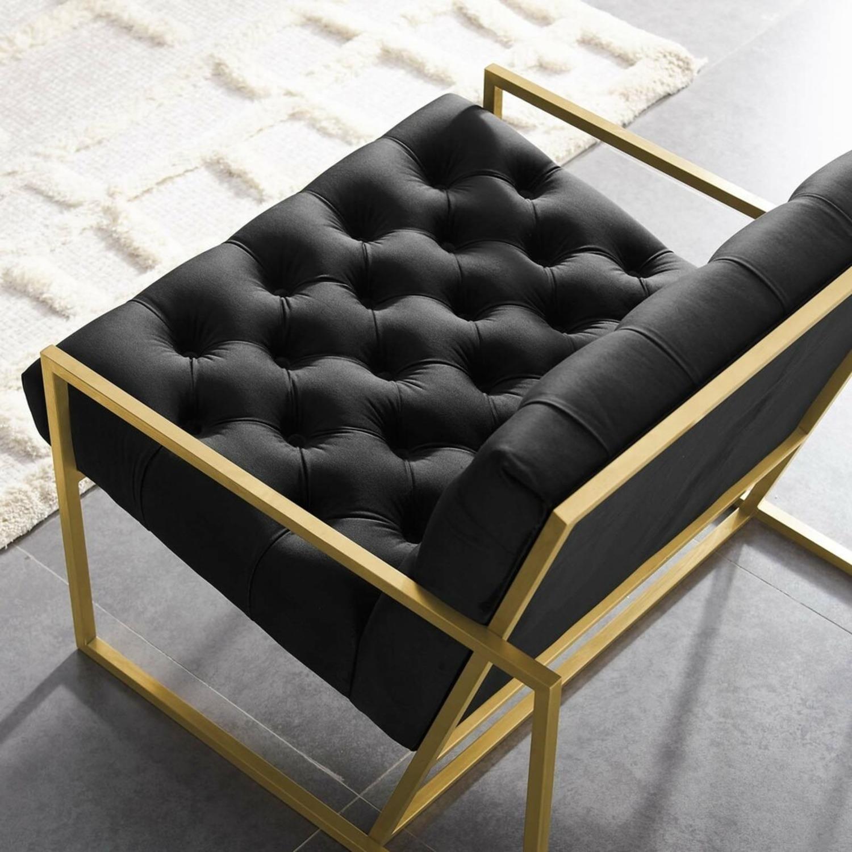 Accent Chair In Black Velvet & Gold Steel Finish - image-3