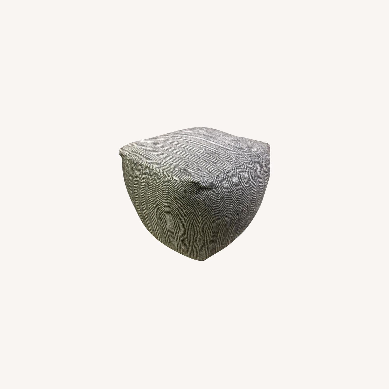 Decor HandKnit Herringbone Gray Foot Rest Ottoman - image-0