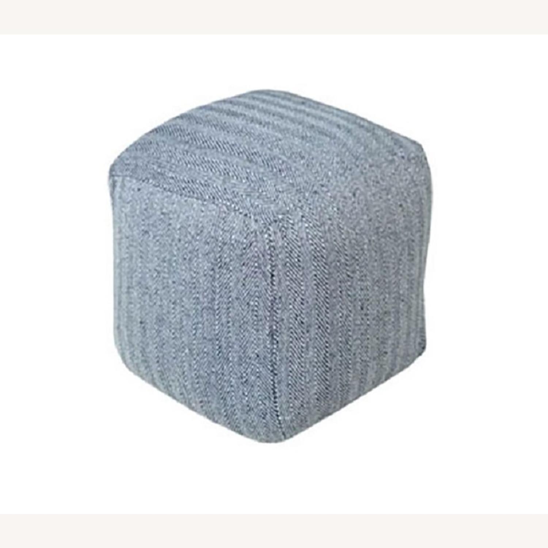 Hand Knit Herringbone Navy Blue Ottoman Foot Rest - image-3
